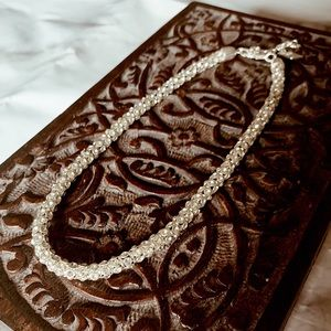 Silver Rhinestone Jeweled Pave Necklace